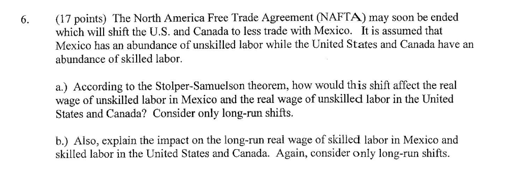 Solved 6 17 Points The North America Free Trade Agreem
