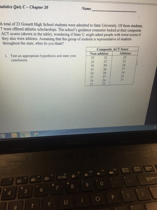 Solved: Tatistics Quiz C-Chapter 20 Name A Total Of 23 Gos