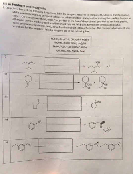 Solved fill in products and reagents 3 10 points for 5 fill in products and reagents 3 10 points for 5 of the following ccuart Gallery