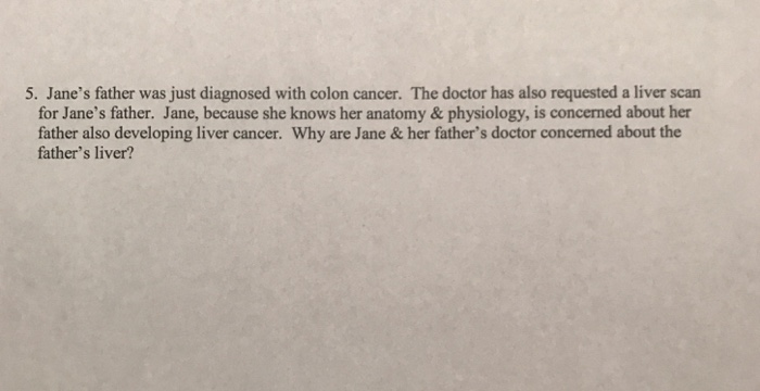 Solved 5 Jane S Father Was Just Diagnosed With Colon Can Chegg Com