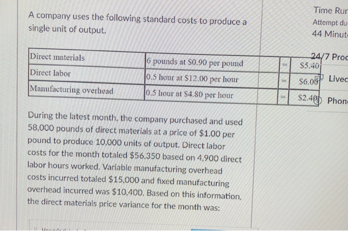 Accounting archive march 27 2018 chegg a company uses the following standard costs to produce a single unit of output time fandeluxe Gallery