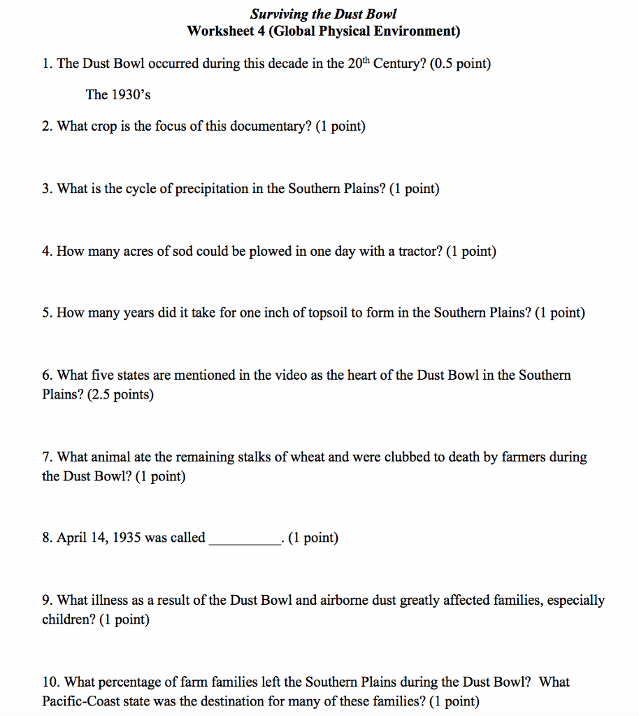 Solved: Surviving The Dust Bowl Worksheet 4 (Global Physic ...