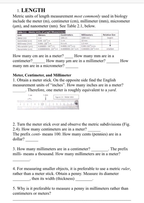 Solved: Metric Units Of Length Measurement Most Commonly U