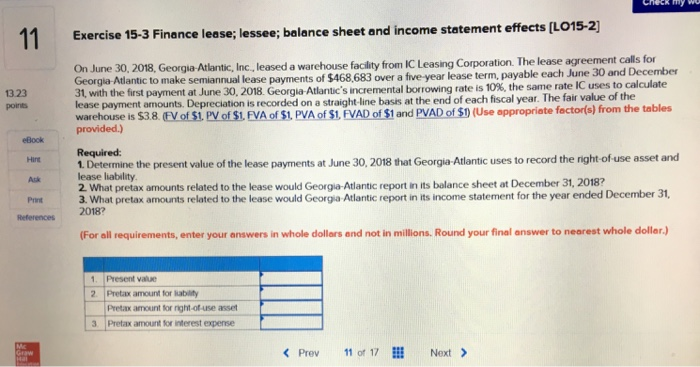 Solved 11 Exercise 15 3 Finance Lease Lessee Balance Sh