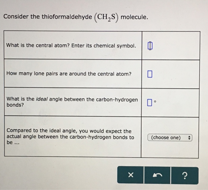 Solved Consider The Thioformaldehyde Ch2s Molecule What