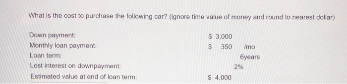 Solved What Is The Cost To Purchase The Following Car I