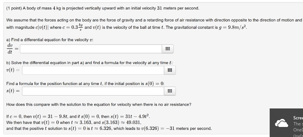 Solved 1 Point A Body Of Mass 4 Kg Is Projected Vertica