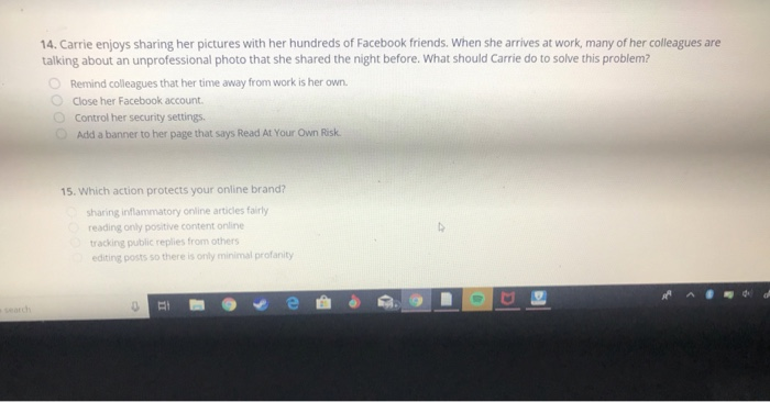 Solved: 14  Carrie Enjoys Sharing Her Pictures With Her Hu