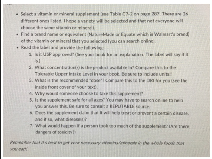 Solved Select A Vitamin Or Mineral Supplement See Table Chegg Com