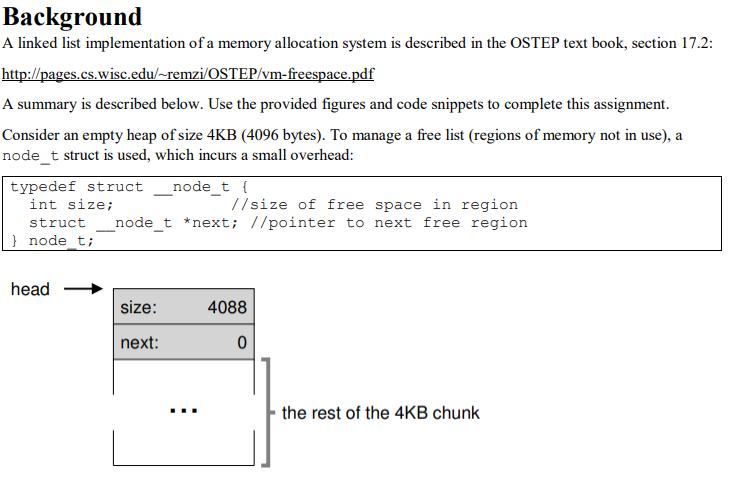 Background A Linked List Implementation Of A Memor      Chegg com