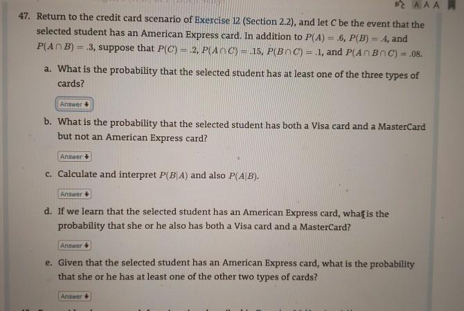 Aaa Mastercard Login >> Aaa 47 Return To The Credit Card Scenario Of Exer