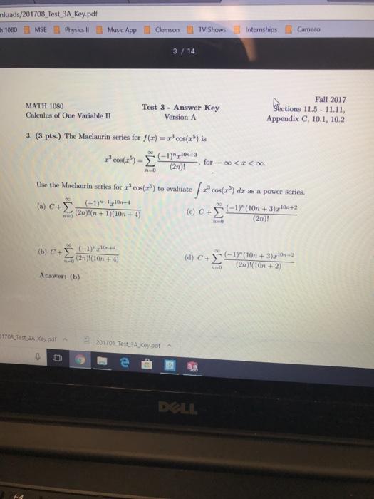 Solved: Nloads/201708 Test 3A Key pdf H 1080皿MSE Physics