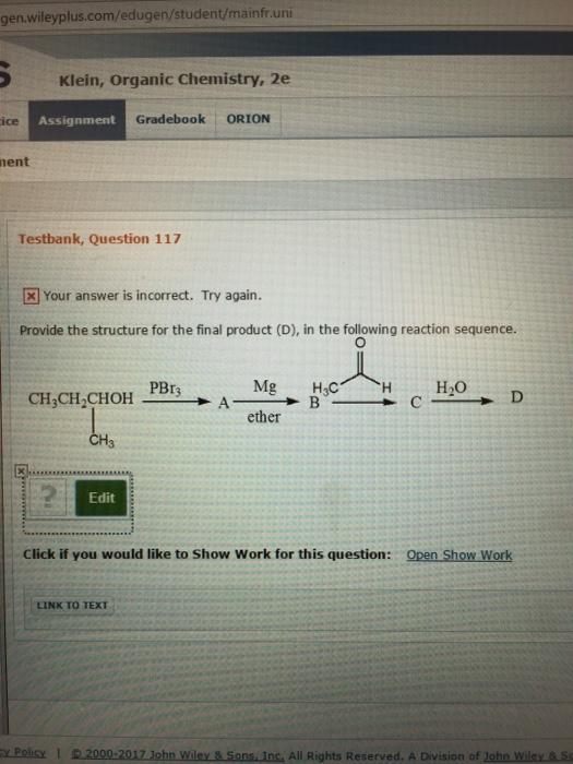 solved gen wileyplus com edugen student mainfr uni klein rh chegg com Organic Chemistry Janice Smith PDF Organic Chemistry Book