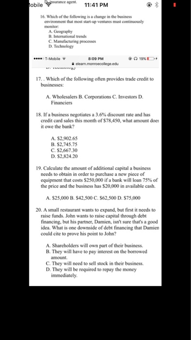 Solved Obile 1141 Pm 16 Which Of The Following Is A Cha