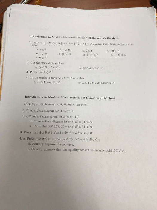 Solved Introduction To Modern Math Section 4142 Homewo