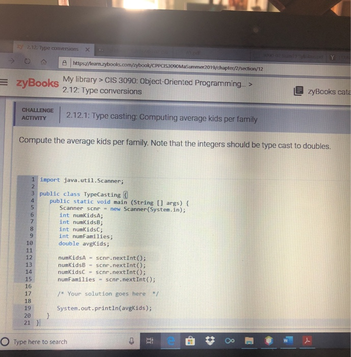 Solved: Zy 2 12  Type Conversions Https//learn zybooks com