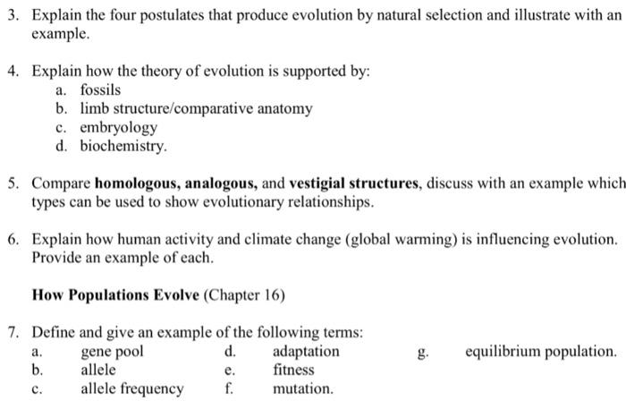 Solved: 3. Explain The Four Postulates That Produce Evolut ...