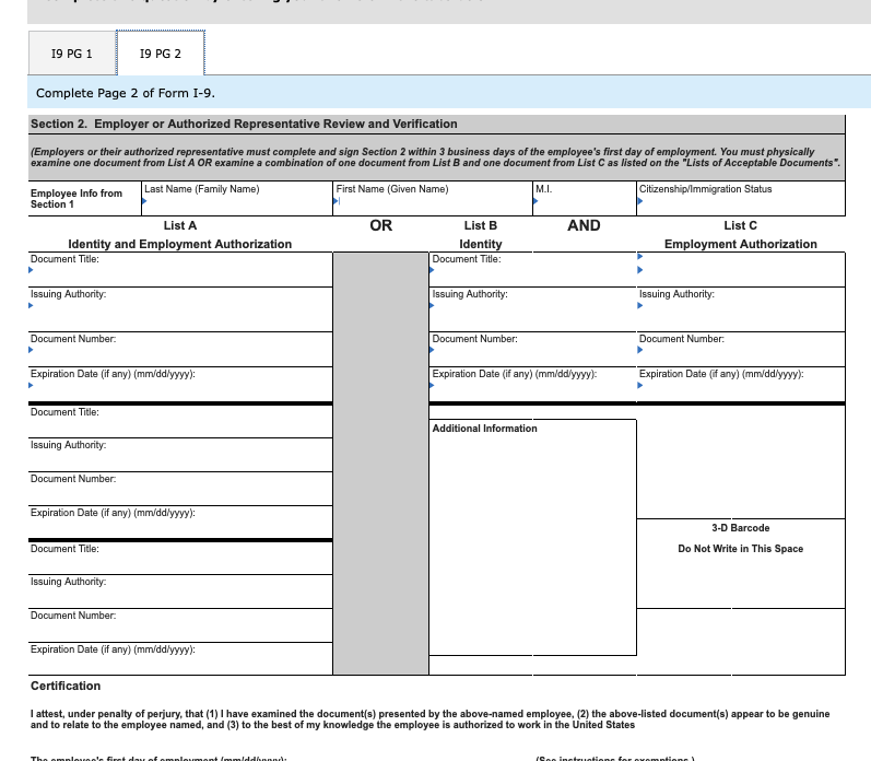 form i-9 verification list  Solved: Required Complete The L-9 For Employment At Erma J ...