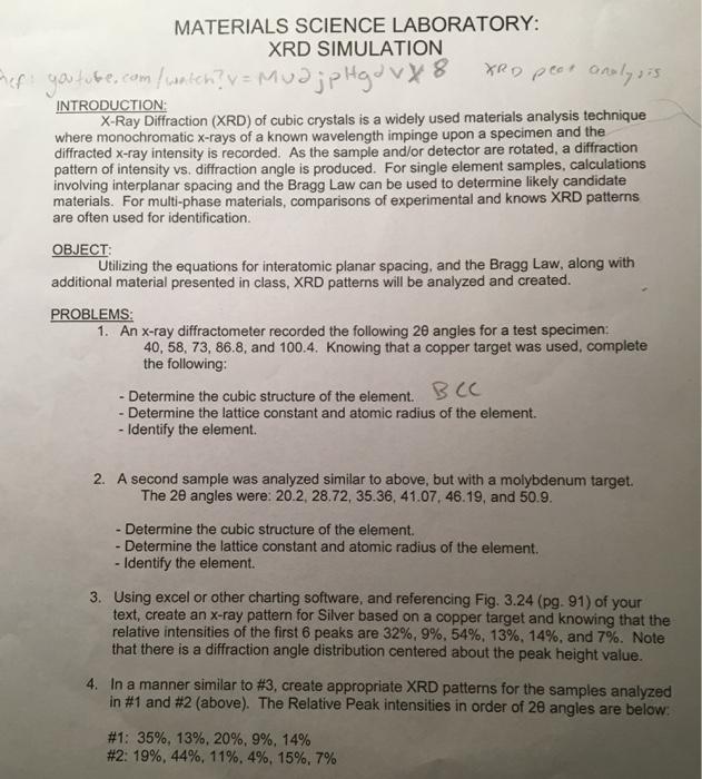 Solved: MATERIALS SCIENCE LABORATORY: XRD SIMULATION PH J
