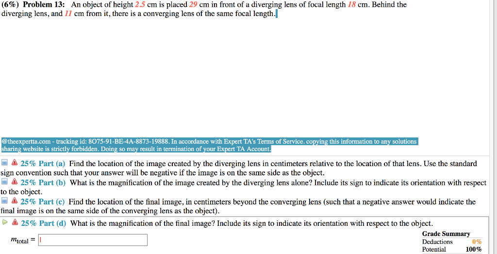 Question T 6 Problem 13 An Object Of Height 2 5 Cm Is Placed 29 In Front A Diverging Lens Foc