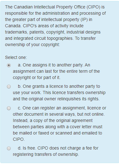 Solved: The Canadian Intellectual Property Office (CIPO) I ...