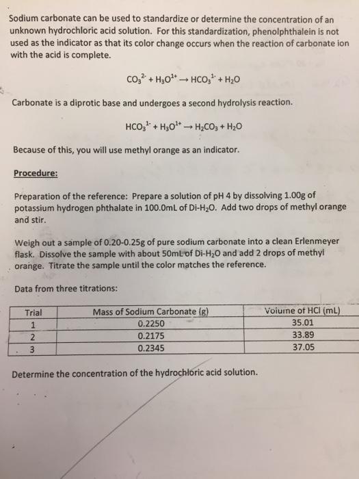 titration sodium carbonate hydrochloric acid