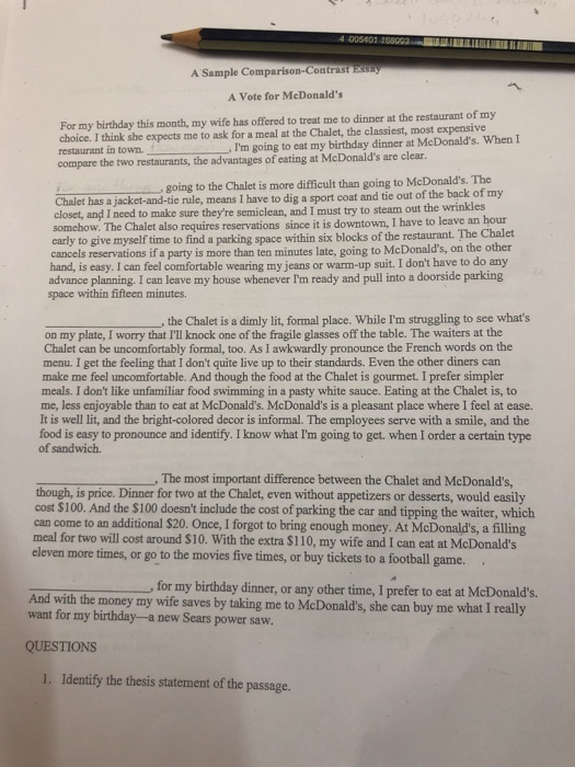 mcdonalds thesis statement