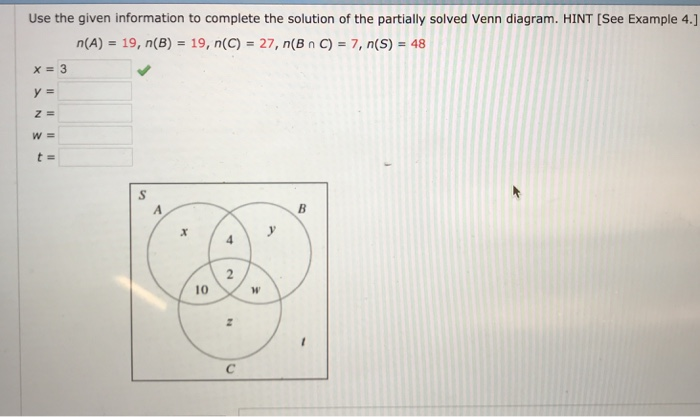 Solved Use The Given Information To Complete The Solution