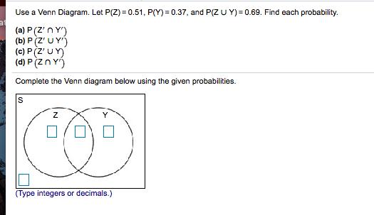 use a venn diagram  let p(z) 0 51, p(y)