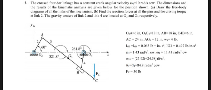 Solved: 2· The Crossed Four-bar Linkage Has A Constant Cra