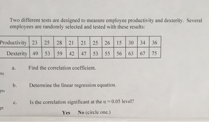 d4c5483a69f1 Question  Two different tests are designed to measure employee productivity  and dexterity. Several employee.