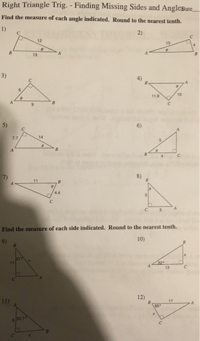 Solved Right Triangle Trig Finding Missing Sides And A