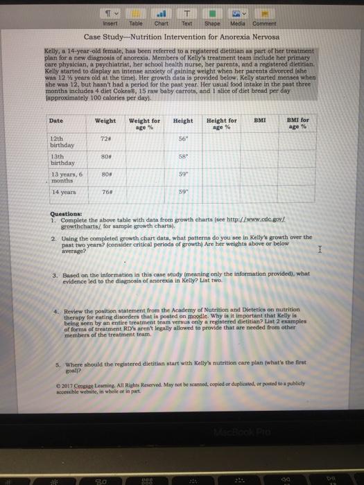 Insert Table Chart Text Shape Media Comment Case S Chegg