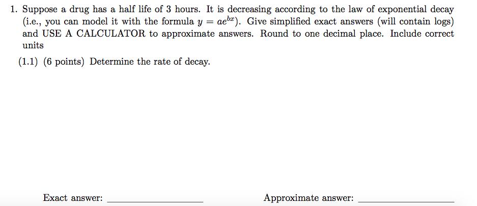 exponential decay model calculator