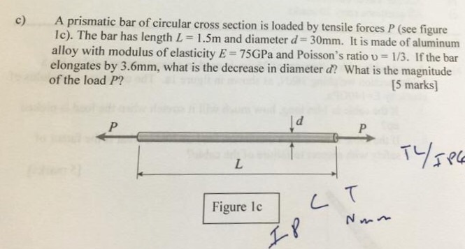 A prismatic bar of circular cross section is loaded by tensile forces P (see figure lc). T alloy with modulus of elasticity E-75GPa and Poissons ratio u 1/3. If the bar elongates by 3.6mm, what is the decrease in diameter d? What is the magnitude of the load P? he bar has length L- 1.5m and diameter d 30mm. It is made of aluminum [5 marks Figure ie L
