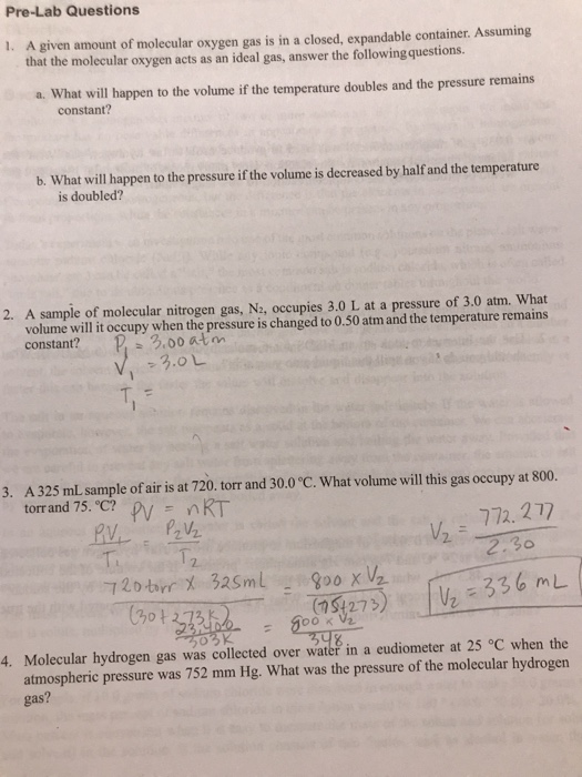 Solved: Experiment 10 The Ideal Gas Law Constant (R) Post