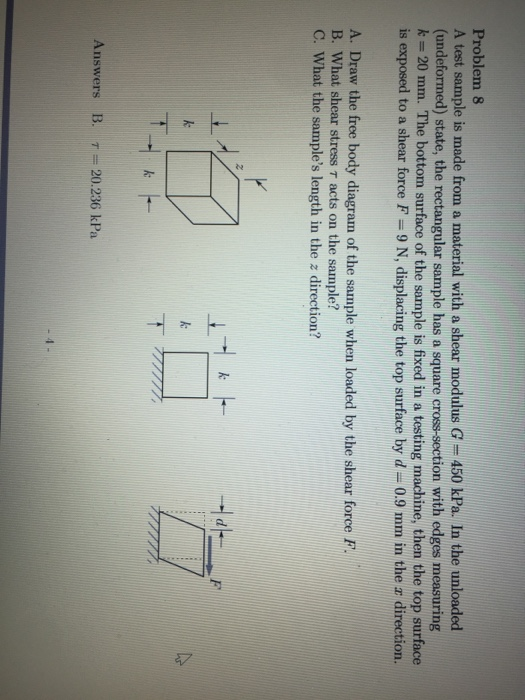 Solved problem 8 a test sample is made from a material wi problem 8 a test sample is made from a material with a shear modulus g ccuart Choice Image