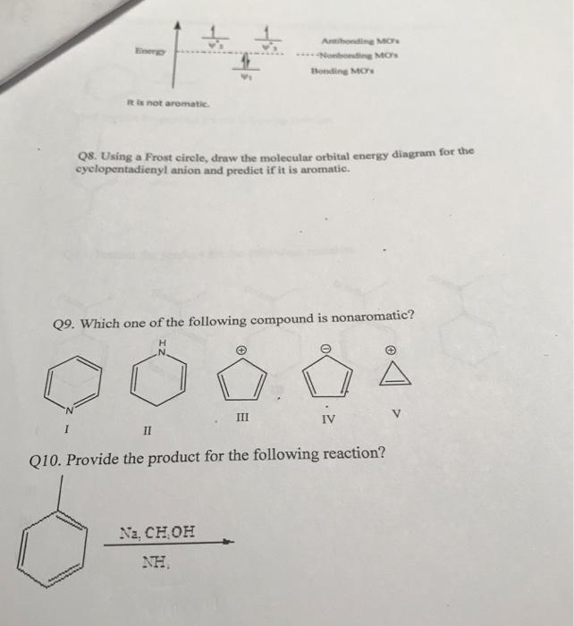 energy bonding mos it is not aromatic  qs  using a frost circle, draw