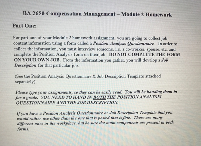 Job Ysis Template | Solved Ba 2650 Compensation Management Module 2 Homework