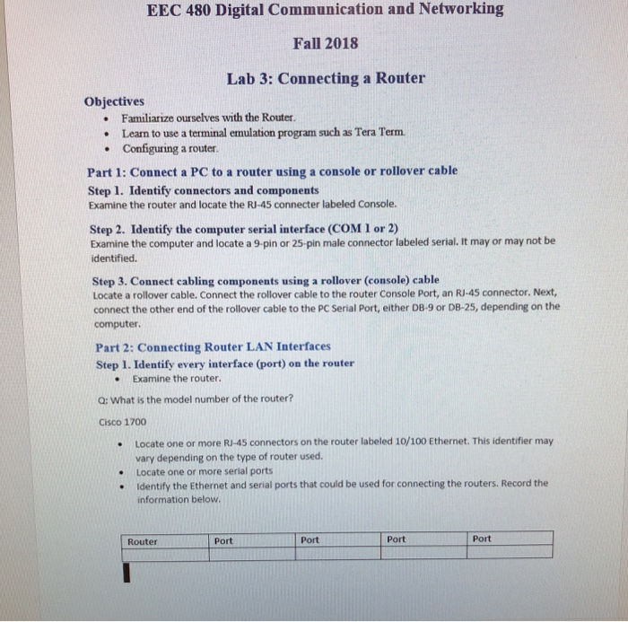 Solved: EEC 480 Digital Communication And Networking Fall