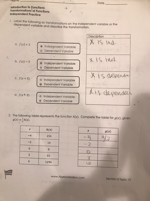 Transformations Of Functions Worksheet With Answers ...