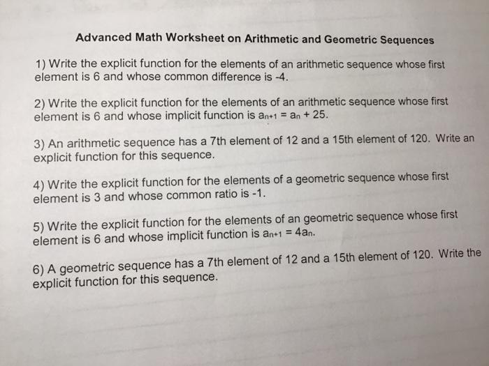 Solved: Advanced Math Worksheet On Arithmetic And Geometri... Chegg.com