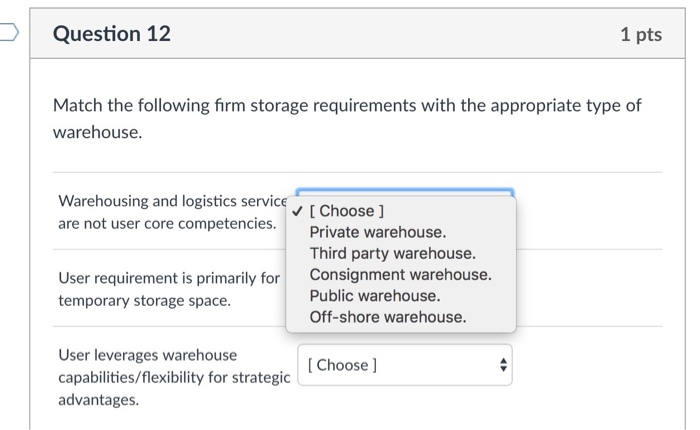 Question 12 1 Pts Match The Following Firm Storage