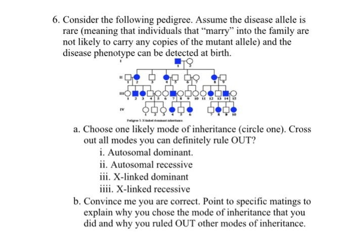 Solved: 6  Consider The Following Pedigree  Assume The Dis