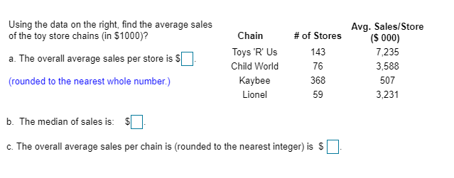 Using the data on the right, find the average sales of the toy store chains (in $1000)? Avg. Sales/Store (S 000) 7,235 Chain