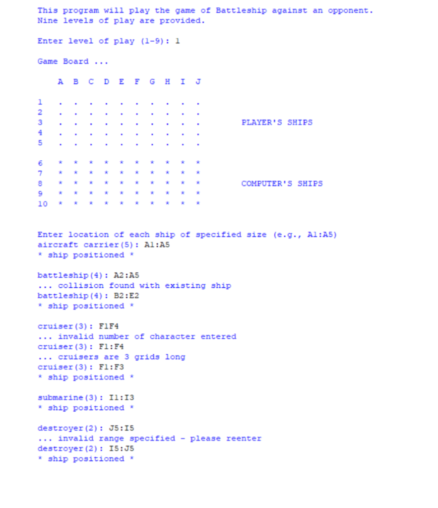 How Do You Make A Python Battleship Program Tell Y