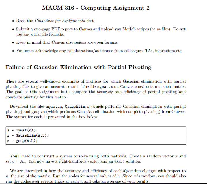 MACM 316 - Computing Assignment 2   Read The Guide    | Chegg com