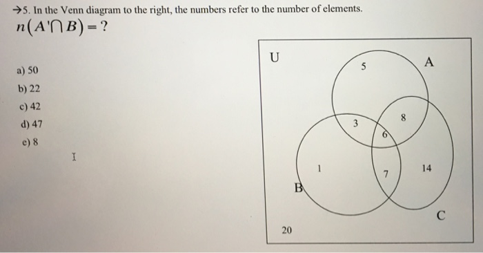 Solved 5 In The Venn Diagram To The Right The Numbers