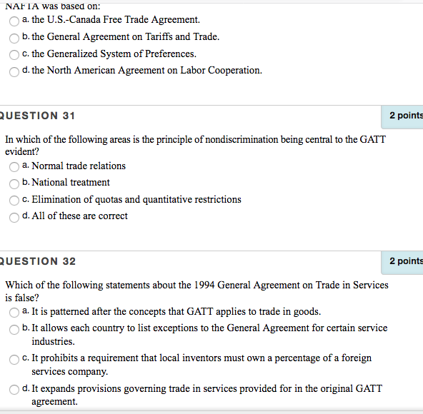 Solved Nafia Was Based On O A The Us Canada Free Trade