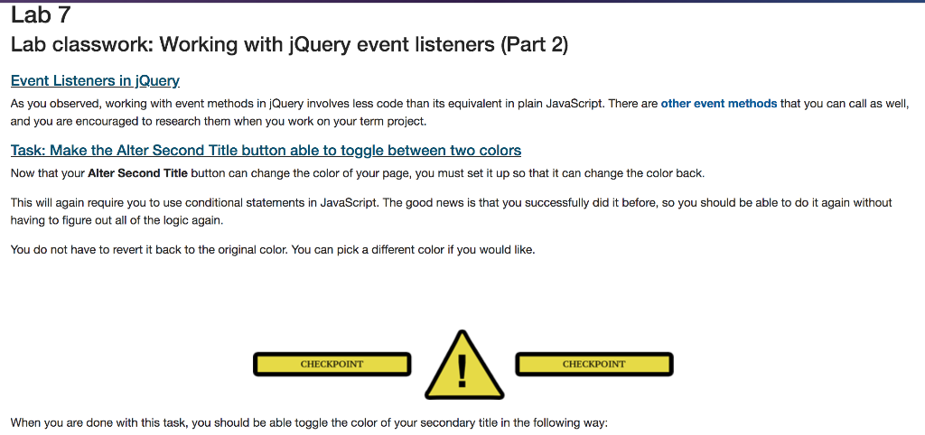 Solved: Lab 7 Lab Classwork: Working With JQuery Event Lis